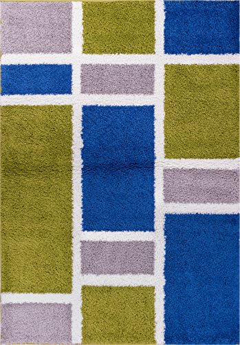 Well Woven Madison Shag Geo Concept Green Blue Modern Geometric Area Rug 5' X 7'2''