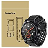 for Huawei Watch GT Band, Lamshaw Silicone Replacement Wristbands Sport Strap with Metal Buckle for Huawei Watch GT Smartwatch (Black) (Color: Black)