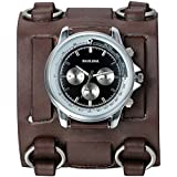 JewelryWe Hip-hop Gothic Leathernk Style Mens Wrist Watch 74MM Wide Brown Leather Cuff Watches