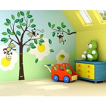 songmics 226 x 162cm gro b ume affen f r kinderzimmer wandtattoo fwt17m de140. Black Bedroom Furniture Sets. Home Design Ideas