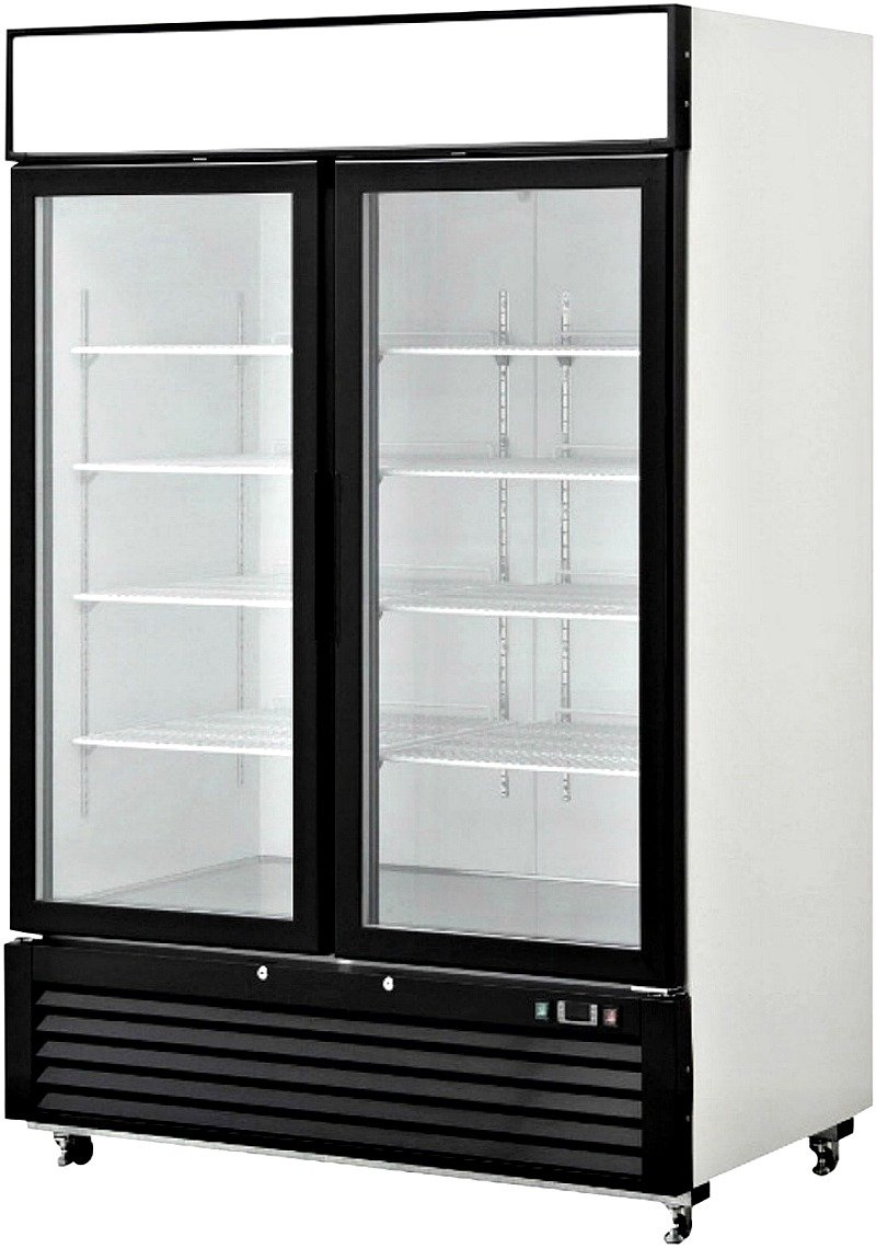 55 Inch Refrigerator Double Glass Door Showcase Reach-in Commercial Grade Restaurant - 46 Cu. Ft. - Auto Defrost - Digital Control - 8 Adjustable Shelves, MCF-8716