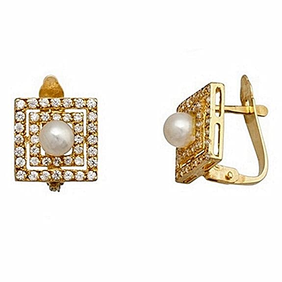18k gold cultured pearl earrings 4mm. square zircons [7140]