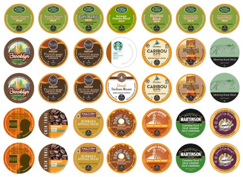 Crazy Cups Decaf Sampler, Single-cup coffee pack sampler for Keurig K-Cup Brewers (Pack of 35)
