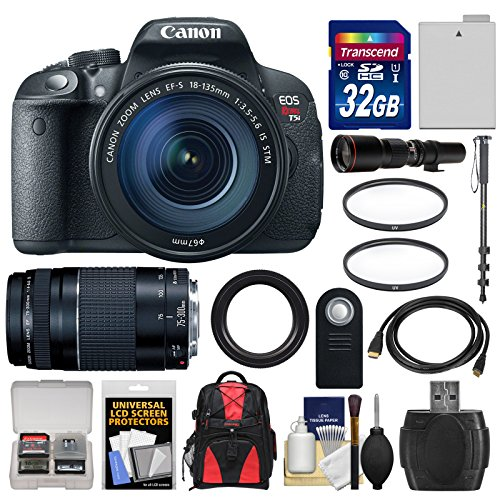 Canon-EOS-Rebel-T5i-Digital-SLR-Camera-EF-S-18-135mm-IS-STM-with-75-300mm-III-500mm-Lenses-32GB-Card-Backpack-Battery-Monopod-Kit