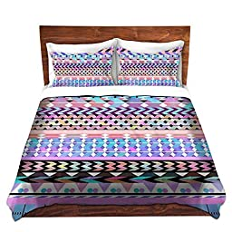 Duvet Cover Brushed Twill Twin, Queen, King SETs from DiaNoche Designs by Organic Saturation Unique Home Decor and Designer Bedding Ideas - Girly Colorful Aztec Pattern