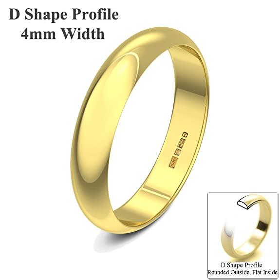 Xzara Jewellery - 18ct Yellow 4mm D Shape Hallmarked Ladies Gents 3.4 Grams Wedding Ring Band