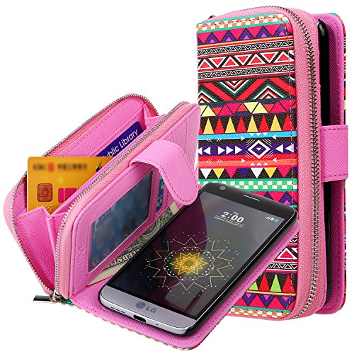 09. LG G5 Case, E LV LG G5 - 2IN1 ( CASE CUM PURSE) TPU+PU Leather flip Wallet Bag Pouch Case Cover For LG G5 - [TRIBAL]