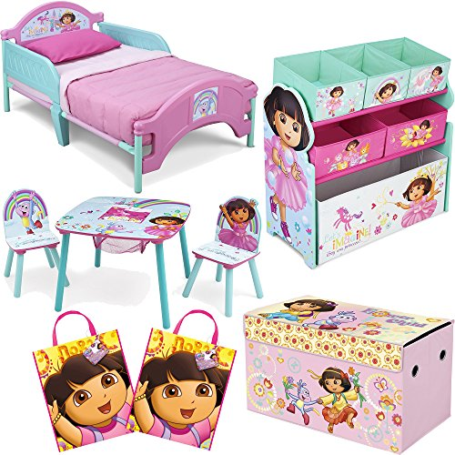 Nickelodeon-Delta-Children-Dora-The-Explorer-8-Piece-Furniture-Set-Plastic-Toddler-Bed-Table-and-Chair-Set-Multi-Bin-Toy-Organizer-2-Pack-Large-Favor-Bag-and-Collapsible-Storage-Trunk