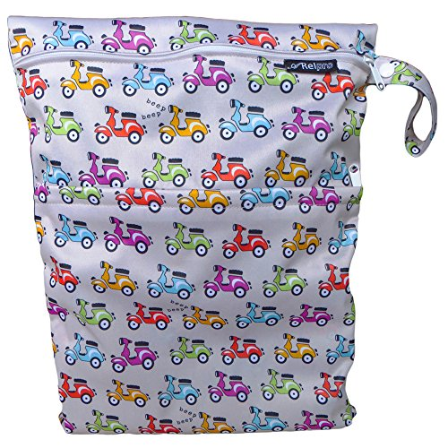 #1 Premium Quality Waterproof PUL Durable Designer Wet Bag for Baby Cloth Diaper / Multipurpose Storage Organizer Bag ★ Machine Washable with Snap handle for strollers - for girls / guys. ★ (Grey Based with Scooters)★Arelpro★