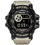 Mens Digital Sports Watches Multifunctional Large Military 50M Waterproof LED Alarm Backlight Super Cool Watch (Khaki)