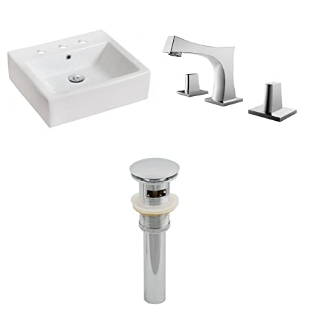 "Jade Bath JB-15446 20"" W x 18"" D Rectangle Vessel Set with 8"" o.c. CUPC Faucet and Drain, White"