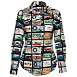 (コトンドゥ) Coton Doux レディースシャツ l62ad1174mixtape-XL (Size.4) 婦人 長袖 カラー 大人 カジュアル 柄 総柄 花柄 ブラウス プリント ファッション デザイン イタリア フランス