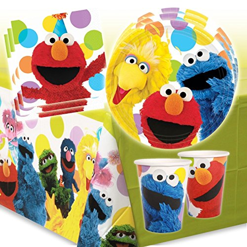 Sesame-Street-Childrens-Birthday-Party-Tableware-Kit-For-16-Guests-Elmo-Kids