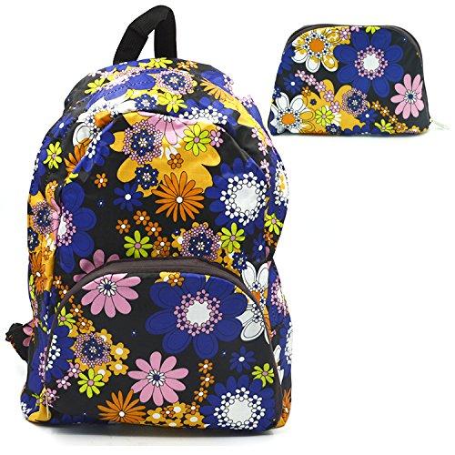 Modische wasserdicht faltbar Faltbarer Schule Rucksack Umhängetasche Studenten Reisen im Freien Sport Wandern Bag Blue Floral