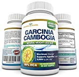 100% PURE Maximum Strength Garcinia Cambogia Extract - 180 Veggie Caps (Best Value) - 45 Day Supply - Natural Appetite Suppressant and Dietary Supplement Formula