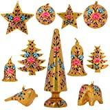Golden Paper Mache Floral Ornaments Diwali Decor Set of 11 Items