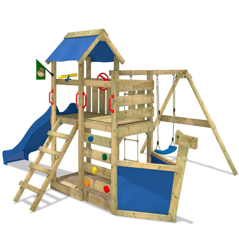 WICKEY Seaflyer Spielturm Rutsche Schaukel Sandkasten (blaue Rutsche / blaue Dachplane) online kaufen