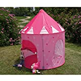 Pink Portable Folding Princess Play Tent Children Kids Castle Cubby Play House