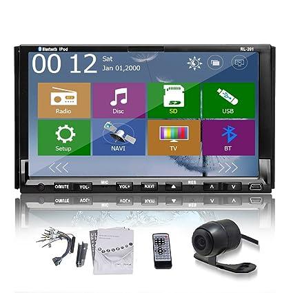 """2Din Appareil photo Double écran 7 """"pour tableau de bord de voiture Pour navigation GPS DVD Bluetooth avec Radio et ipod"""