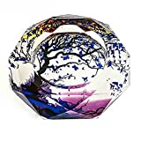 Crystal Cigarette Ashtray Ash Holder Case,The Tree Of Life Pattern Home Office Tabletop Beautiful Decoration Craft(Purple)