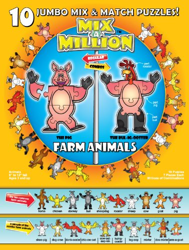 Farm Animals Mix-A-Million 10 Jumbo Mix & Match Puzzles