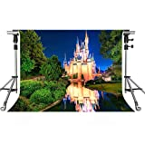 MEETS 7x5ft Disneyland Photography Backdrop Light Illuminates Building River Green Plant Background Photo booth studio props theme party YouTube Backdrop LXMT152