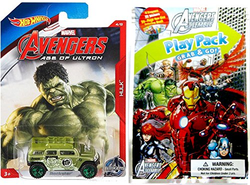 AVENGERS Play Pack Fun & Hot Wheels Exclusive Marvel Car - Coloring Book, Crayons, Stickers Party Hot Wheel Avengers Car fun set