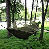 Dayincar Camping Hammock Mosquito Net Hammock Hiking Hanging Bed Portable High Strength Parachute Fabric travel bed for Outdoor Travel Army Green