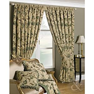 curtains lined pencil pleat natural green curtain pair green cream