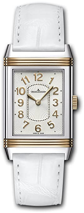 Jaeger LeCoultre Grande Reverso Ultra Thin Silver Dial 18kt Rose Gold White Leather Ladies Watch Q3224420