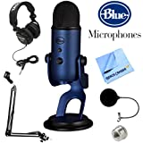 BLUE MICROPHONES Yeti USB Microphone Midnight Blue (Yeti Midnight Blue) + Professional Headphones + Suspension Boom Scissor Arm Stand + Microphone Wind Screen + Mic Stand Adapter + MicroFiber Cloth