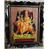 Laps Of Luxury - Maa Durga Sitting On Lion God Idol Wall Hanging Glass Photo Frame In Black Border Finish (19x16...