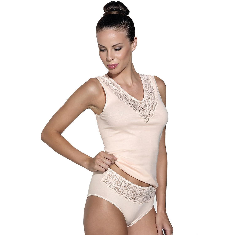 Ott-tricot Damenset Achselhemd + Taillenslip 100% BW mit Spitze 7 Gr. 38-50 Unterwäsche