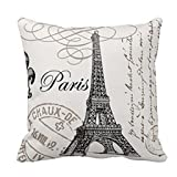 Keepfit Paris Eiffel Tower Printing Pillowcase, Sofa Bed Home Decoration Cushion Cover Festival Home Decor for Valentine's Day (Color: White, Tamaño: 45cm*45cm/18