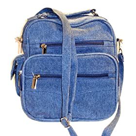 Roma Blue Denim Organizer Bag Handbag Purse