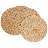 "Creative Dining Group Multi Color Braided Round Placemats (Set of 4), 15"", Almond"