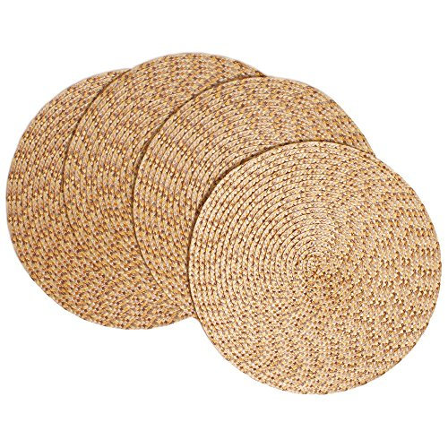 Creative Dining Group Multi Color Braided Round Placemats (Set of 4), 15″, Almond