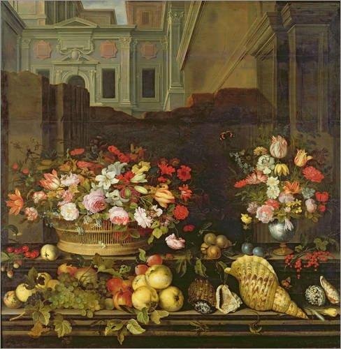 Stampa su acrilico 100 x 100 cm: Still Life with Flowers di Balthasar van der Ast / Bridgeman Images