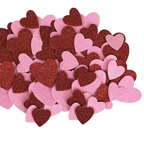 Red Pink Valentines Glitter Hearts