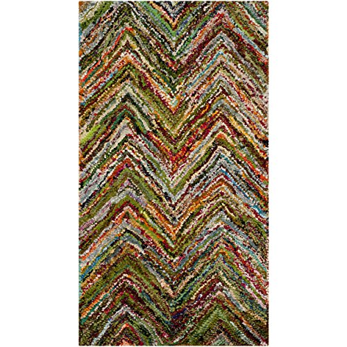 Safavieh Nantucket Collection NAN141B Handmade Blue and Multicolored Cotton Area Rug, 2 feet 3 inches by 5 feet (2'3