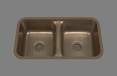 Bates & Bates Zena Z1832P.ZC Z Copper Dual Mount Kitchen Sink 17 3/4 x 32 x 10