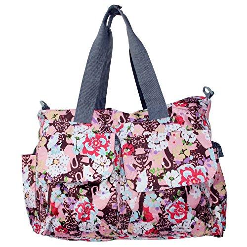 Bebamour Original Floral Designer Diaper Tote Bags,red