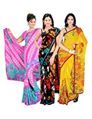 Pack Of 3 Beautiful Multi Printed Faux Georgette Sari With Unstitched Blouse Piece By Khazana