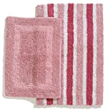Ruia Home Cotton Reversible 2-Piece Bath Rug Set, Pink