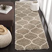 "Safavieh Hudson Shag Collection SGH280S Beige and Ivory Moroccan Ogee Plush Runner (23"" x 6)"