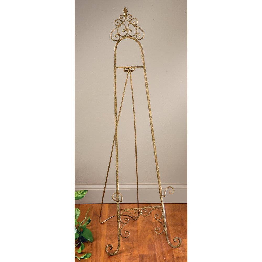 StealStreet SS-Tri-59404 53.69 inch Gold Color Metal Floor Easel
