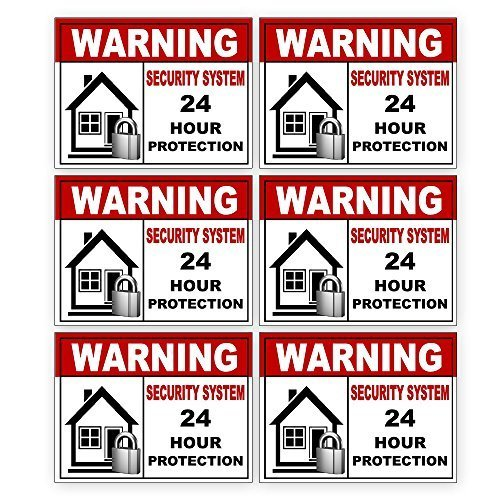 Discover Bargain 6 Pack Security Alarm Sticker Best for Home and Business for Indoor/Outdoor Use Lon...