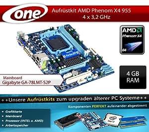 One PC Aufrüstkit   AMD Phenom II X4 955, 4x 3.20GHz   Aufrüstset   Mainboard: Gigabyte GA-78LMT-USB3   4GB Arbeitsspeicher (1x 4096 MB DDR3 RAM 1333 MHz)   CPU Mainboard Bundle