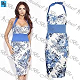 Be Jealous New Womens Celebrity Halter Neck Bodycon Bluebelle Floral Midi Dress Top S, UK 8 Blue/Cream Amy Childs - Tie Back Neck Midi Dress