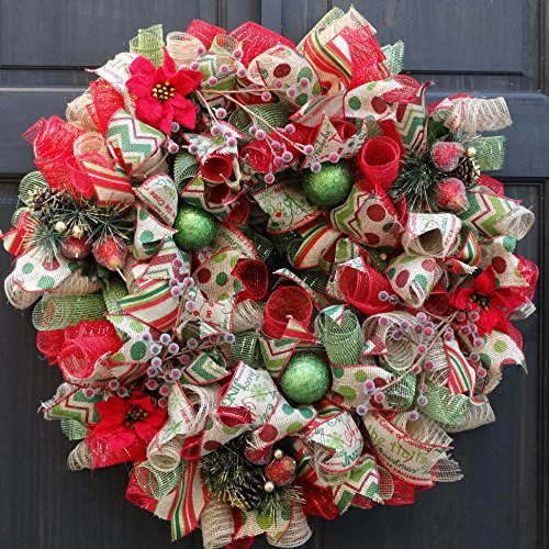 Burlap Deco Mesh Christmas Wreath with Red Poinsettias and Iced Berries ~ Holiday Front Door Decoration